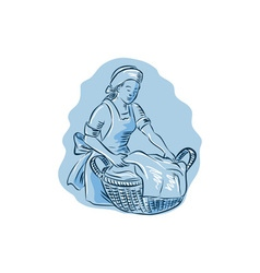 Laundry Maid Basket Vintage Etching vector image