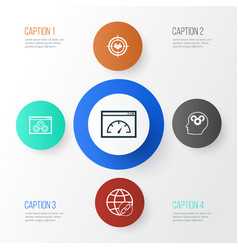 Marketing icons set collection of intellectual vector
