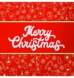 Merry christmas white 3d lettering on red vector