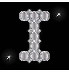 Metal letter i gemstone geometric shapes vector