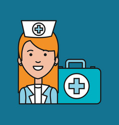Nurse medical professional with case first aid vector