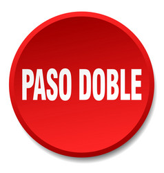 Paso doble red round flat isolated push button vector