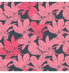 Seamless pattern with pink magnolia vector image vector image