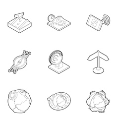 Search territory icons set outline style vector image vector image