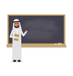 senior arab teacher teaching student in classroom vector image