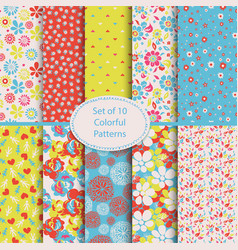 Set of 10 seamless floral and hearts background vector image vector image