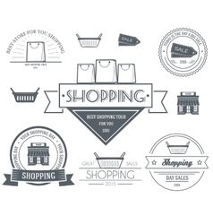 Shopping set label template of emblem element for vector