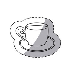 silhouette cup with plate icon vector image vector image
