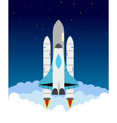 Starting shuttle clouds stars shuttle and rocket vector