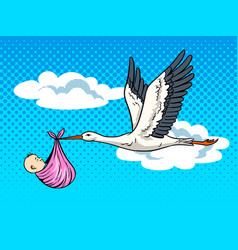 Stork brings baby pop art vector