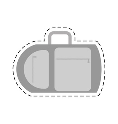 Suitcase travel equipment vacation cut line vector