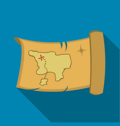 Treasure map icon flate singe western icon from vector