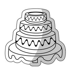 wedding cake sweet outline vector image vector image