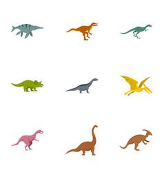 wild dinosaur icons set flat style vector image vector image