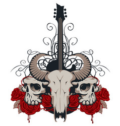With guitar skulls roses and blood vector