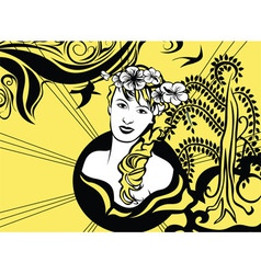 Yellow and black retro background with girl vector image vector image