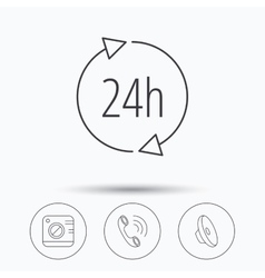 Phone call 24h service and sound icons vector