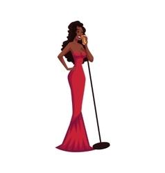 Glamorous african american female singer in posh vector