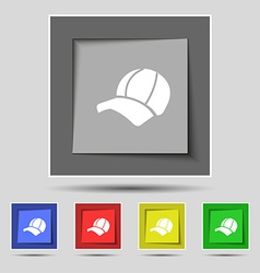 Ball cap icon sign on original five colored vector