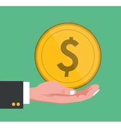 hand holding big coin golden vector image