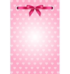 Pink background with hearts and ribbon vector