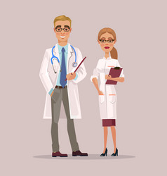 man and woman doctors characters vector image