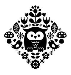 Scandinavian pattern nordic folk art - finnish vector