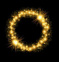 Gold glow glitter circle frame with stars on black vector
