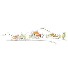 Rural houses on landscape vector