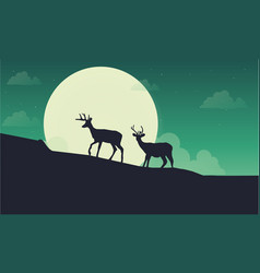 deer with moon scenery silhouette vector image