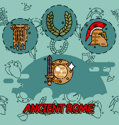 Ancient rome flat concept icons vector