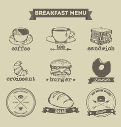 Breakfast menu hand drawing style vector