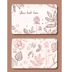 Card with a sprig of leaves elements forest vector