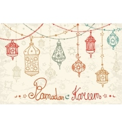 Lantern garland of ramadan kareemdoodle card vector