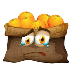 Bag of oranges with sad face vector