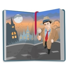 Open book with detective vector
