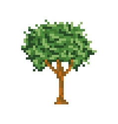 Pixel art tree isolated icon vector