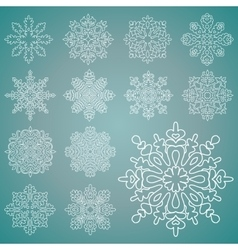 Various isolated winter snowflakes set vector