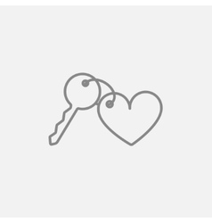 Trinket for keys as heart line icon vector