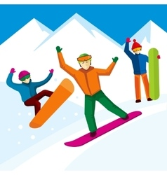 Snowboarder character in flat style vector