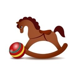 Rocking horse and a red ball vector