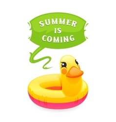 Colorful duck says summer is coming vector