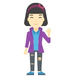 Woman gesturing ok sign vector