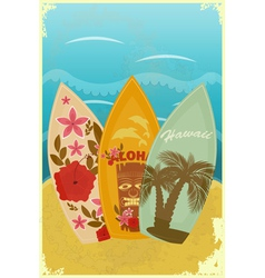 Surfboards on the beach vector
