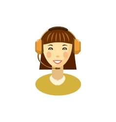 Female customer support operator with headset icon vector