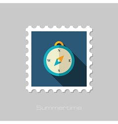 Compass flat stamp summer marine vector