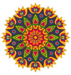 Adult coloring book mandala lotus flower colored vector