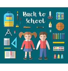 Back to school flat education icon set vector image vector image
