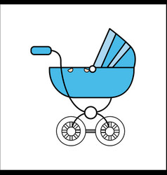 Blue baby carriage icon vector