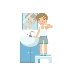 Boy brushing the teeth in front of mirror vector